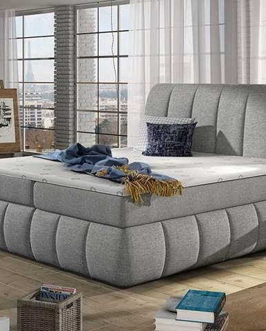 Vareso 140 čalúnená manželská posteľ s úložným priestorom svetlosivá (Sawana 21)