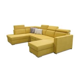 Marieta L rohová sedačka u s rozkladom a úložným priestorom žltá
