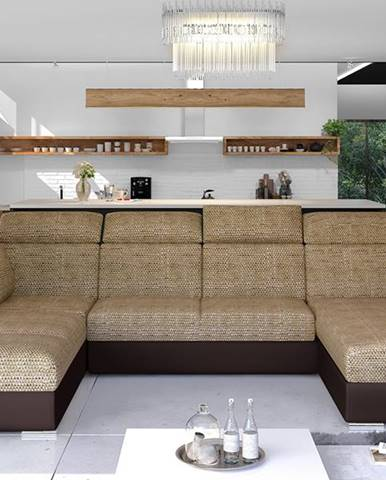 Ermo U L rohová sedačka u s rozkladom a úložným priestorom cappuccino