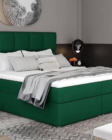 Grosio 185 čalúnená manželská posteľ s úložným priestorom tmavozelená
