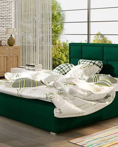 Liza UP 140 čalúnená manželská posteľ s roštom tmavozelená