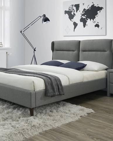 Santino 160 čalúnená manželská posteľ s roštom sivá
