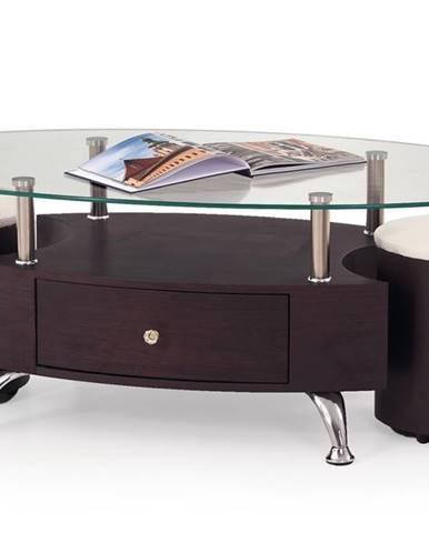 Stella sklenený konferenčný stolík wenge