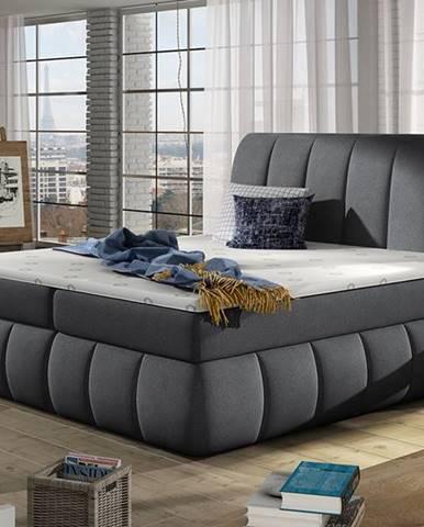 Vareso 140 čalúnená manželská posteľ s úložným priestorom tmavosivá (Orinoco 96)