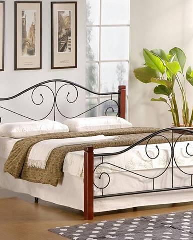 Violetta 160 kovová manželská posteľ s roštom čerešňa antická