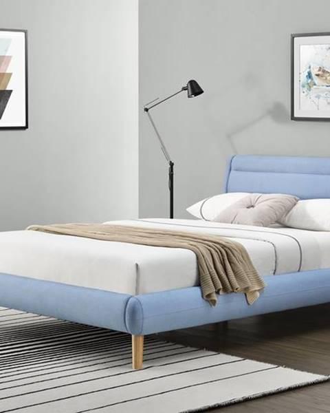 Halmar Elanda 140 čalúnená manželská posteľ s roštom svetlomodrá