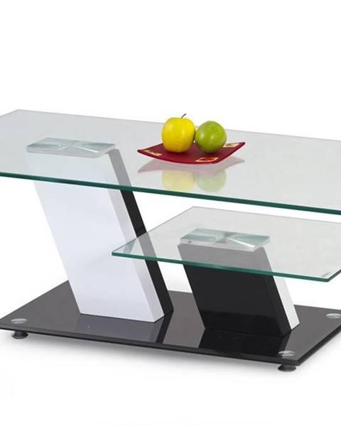 Halmar Savana sklenený konferenčný stolík čierny lesk