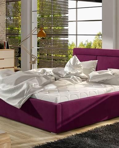 Branco 200 čalúnená manželská posteľ s roštom vínová