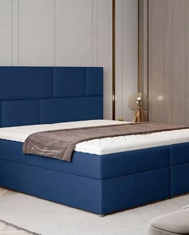 Ferine 165 čalúnená manželská posteľ s úložným priestorom tmavomodrá