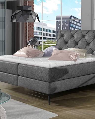 Lazio 180 čalúnená manželská posteľ s úložným priestorom čierna (Dora 96)