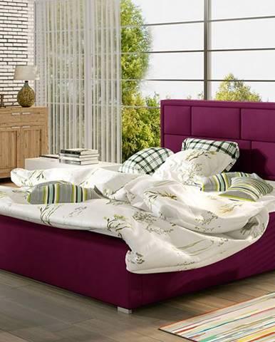 Liza UP 140 čalúnená manželská posteľ s roštom vínová