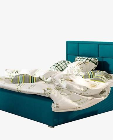 Liza UP 160 čalúnená manželská posteľ s roštom tyrkysová
