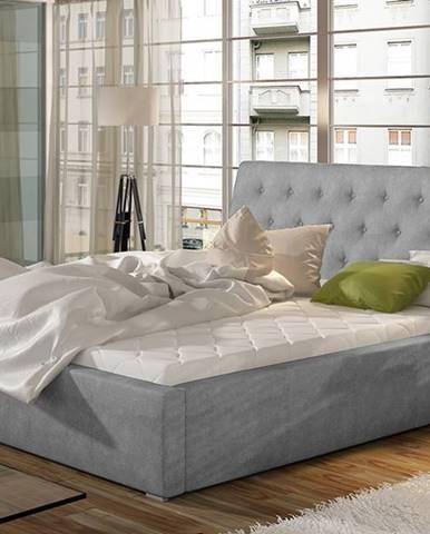 Monzo UP 160 čalúnená manželská posteľ s roštom svetlosivá (Paros 05)
