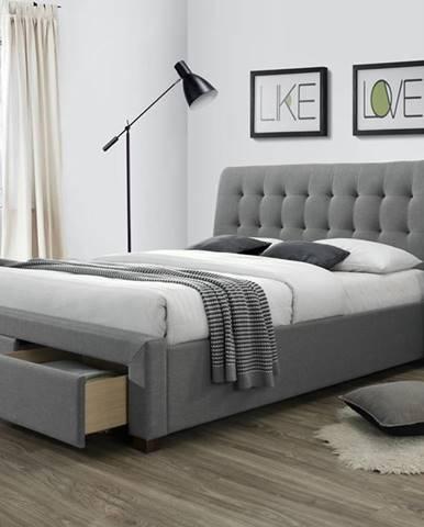 Percy 160 čalúnená manželská posteľ s roštom sivá