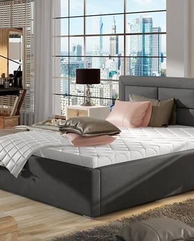 Rovigo UP 160 čalúnená manželská posteľ s roštom tmavosivá