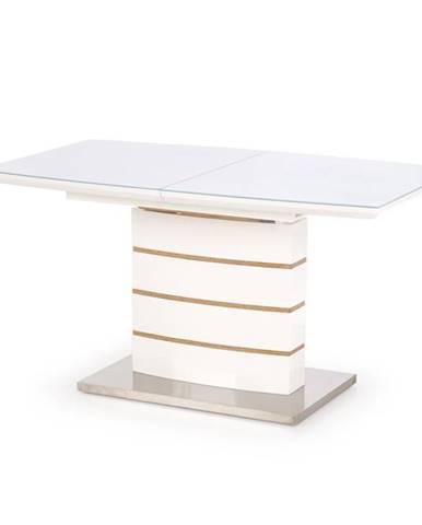 Toronto sklenený rozkladací jedálenský stôl biely lesk