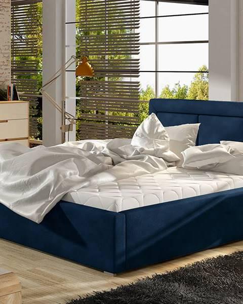 NABBI Branco 200 čalúnená manželská posteľ s roštom tmavomodrá