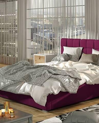 Galimo 160 čalúnená manželská posteľ s roštom vínová