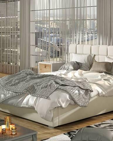 Galimo UP 140 čalúnená manželská posteľ s roštom béžová