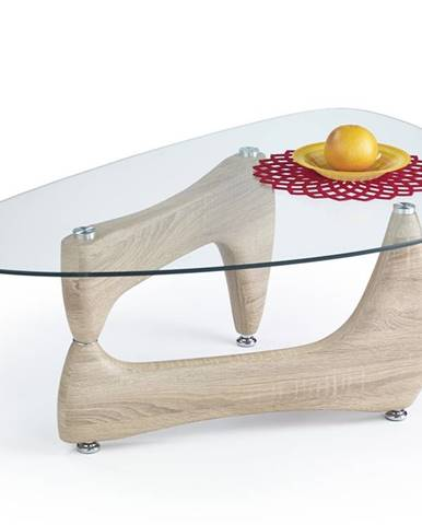 Karen sklenený konferenčný stolík dub sonoma