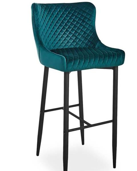 Signal Colin B Velvet H-1 barová stolička zelená
