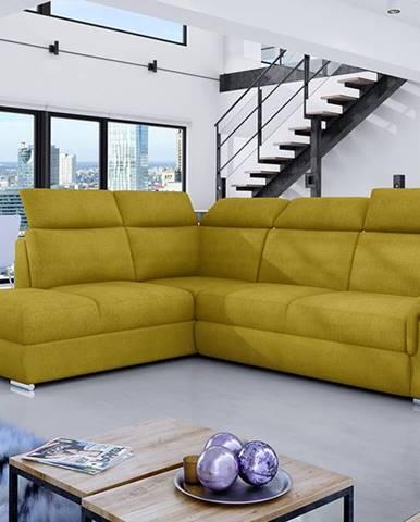 Leren L rohová sedačka s rozkladom a úložným priestorom žltá