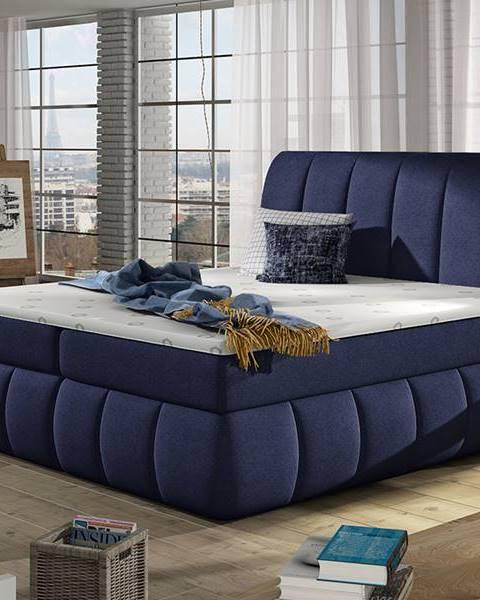 NABBI Vareso 180 čalúnená manželská posteľ s úložným priestorom tmavomodrá (Ontario 81)