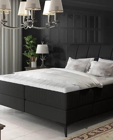 Altama 140 čalúnená manželská posteľ s úložným priestorom čierna (Soft 11)