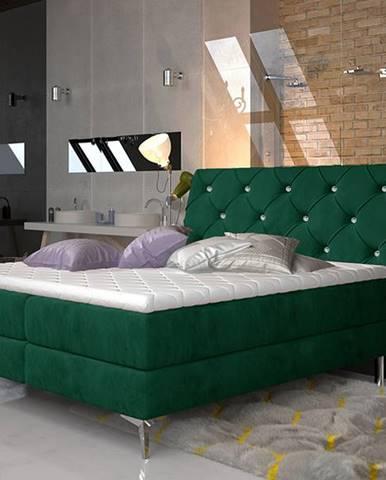 Amika 180 čalúnená manželská posteľ s úložným priestorom tmavozelená