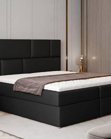 Ferine 165 čalúnená manželská posteľ s úložným priestorom čierna (Soft 11)