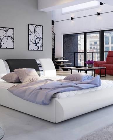 Folino 180 čalúnená manželská posteľ s roštom biela
