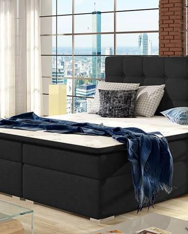 Isola 180 čalúnená manželská posteľ čierna (Sawana 14)