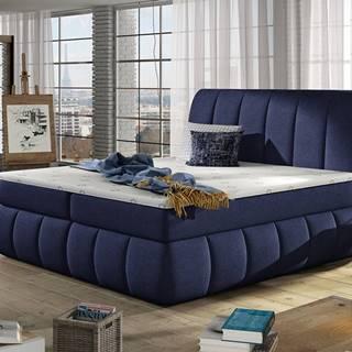 Vareso 180 čalúnená manželská posteľ s úložným priestorom tmavomodrá (Ontario 81)