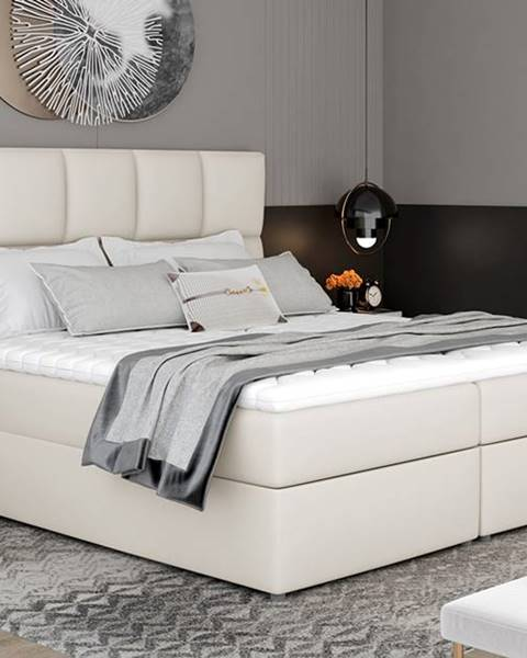 NABBI Grosio 165 čalúnená manželská posteľ s úložným priestorom béžová