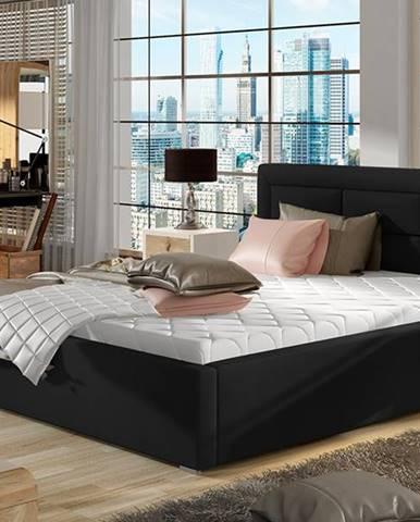 Rovigo 140 čalúnená manželská posteľ s roštom čierna
