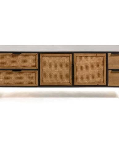 Čierno-hnedý TV stolík La Forma Kyoko, 150 x 55 cm