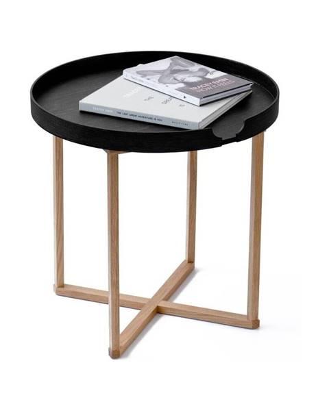 Wireworks Čierny odkladací stolík z dubového dreva s odnímateľnou doskou Wireworks Damieh, 45×45cm