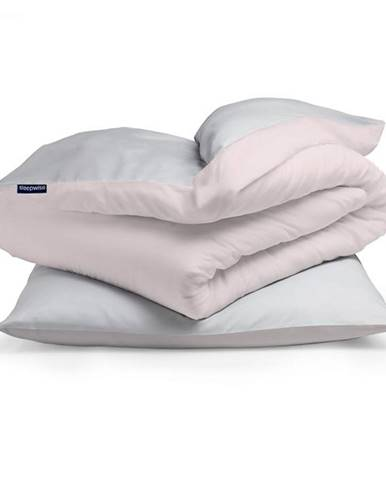 Sleepwise Soft Wonder-Edition, posteľná bielizeň, svetlosivá/ružová, 135 x 200 cm, 80 x 80 cm