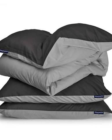 Sleepwise Soft Wonder-Edition, posteľná bielizeň, 200 x 200 cm, tmavosivá/svetlosivá