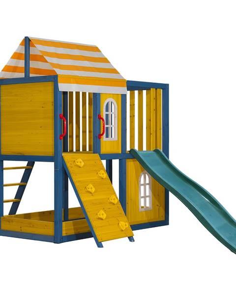 Kondela Drevený záhradný domček/záhradné ihrisko pre deti so šmykľavkou a lezeckou stenou MANAS