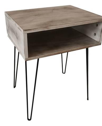 Príručný/nočný stolík biela vintage/čierna HONEJ