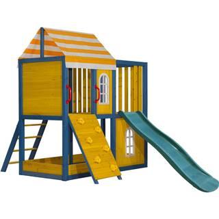 Drevený záhradný domček/záhradné ihrisko pre deti so šmykľavkou a lezeckou stenou MANAS