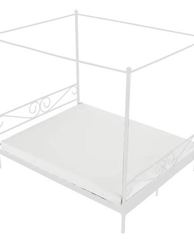 Kovová posteľ s nebesami biela 160x200 ABENA