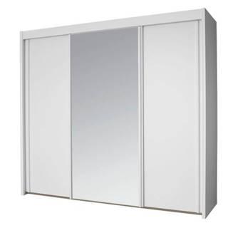 Šatníková skriňa KING biela, 250 cm, 1 zrkadlo