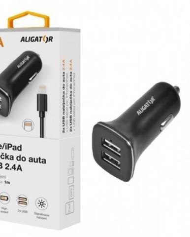 Nabíjačka do auta Aligator 2xUSB 2,4A + kábel Lightning, čierna