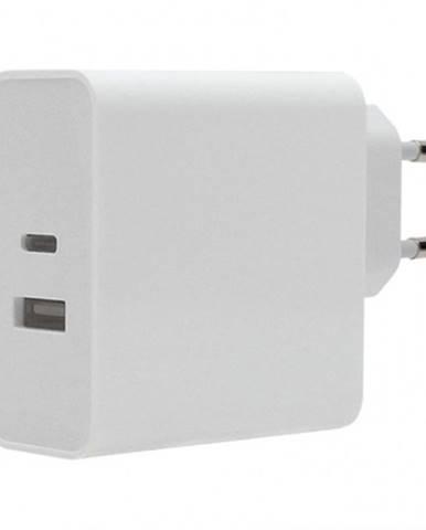 Nabíjačka WG USB + USB-C, 63W + kábel USB-C na USB-C, biela