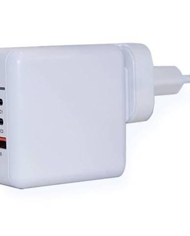 Nabíjačka do siete ER Power 65W GaN PD 2x USB-C, USB-A QC 3.0 biela