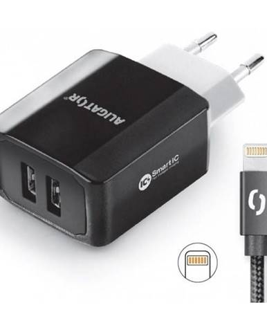 Nabíjačka do siete Aligator 2xUSB, smart IC, 3,4A + Lightning kabel