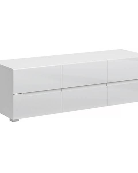 Kondela RTV stolík 6S/140 biela/biely extra vysoký lesk HG JOLK