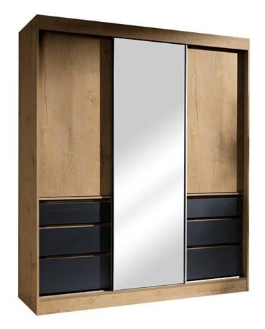 Skriňa s posúvacími dverami dub lefkas/čierna 180 ROMUALDA